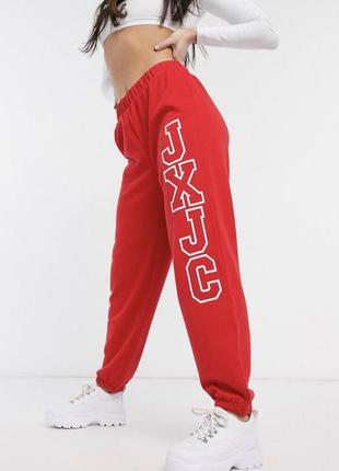 Красные свободные хлопковые спортивные штаны брюки оверсайз с логотипом jxjc juicy couture