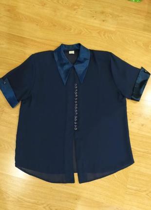 Женская шифоновая блузка с атласным воротником и манжетами