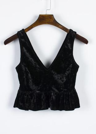 Бархатный топ нарядный, нарядный кроп топ черный, бархатная майка короткая2 фото