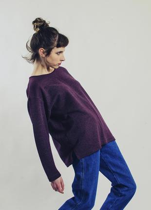 Бордовый пуловер оверсайз, бордовый свитер женский, объемный свитер однотонный