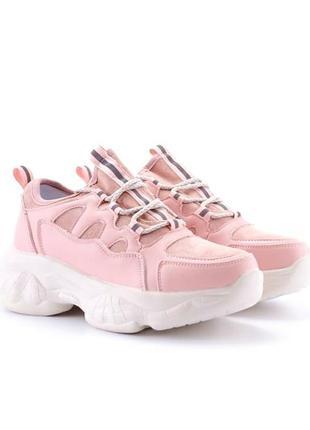 Стильные розовые пудра кроссовки на платформе массивные модные кроссы трендовые светлые