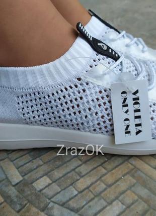 Белые сетка кроссовки кеды слипоны мокасины6 фото