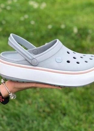 Crocs crocband platform grey кроксы оригинал платформе серые