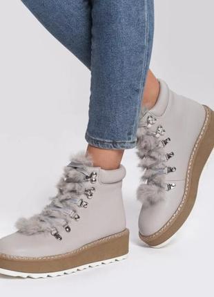 Ботинки серые на шнурках