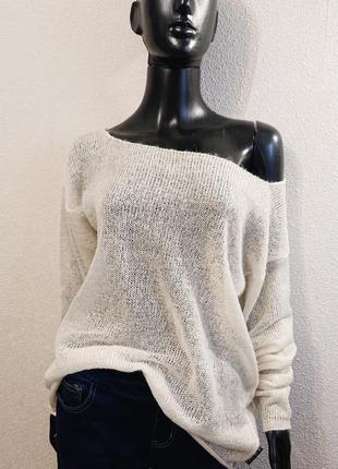 Белый свитер накидка из мохера