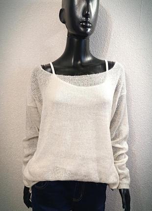 Белый свитер накидка из мохера2 фото