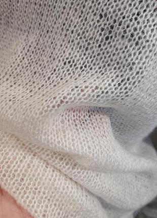 Белый свитер накидка из мохера6 фото