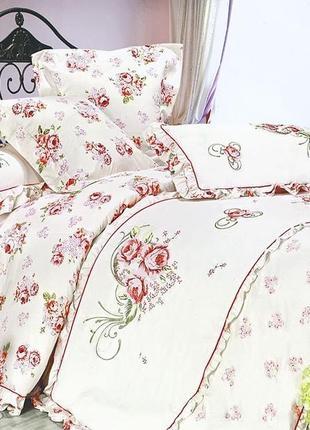 Комплект постельного белья с вышивкой, евро (хлопок-сатин)
