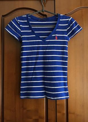 Синяя хлопковая футболка в полоску polo