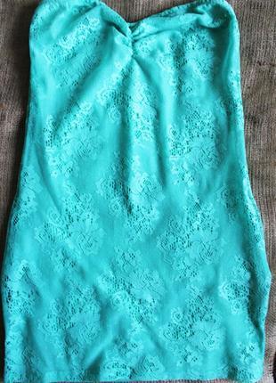 Яркое бирюзовое платье короткое кружево terranova