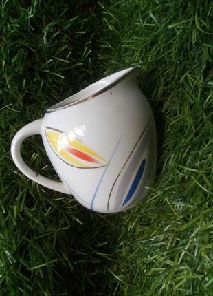 Сливочник (молочник) ссср, фарфоровый барановского фз винтажный в стиле арт-деко