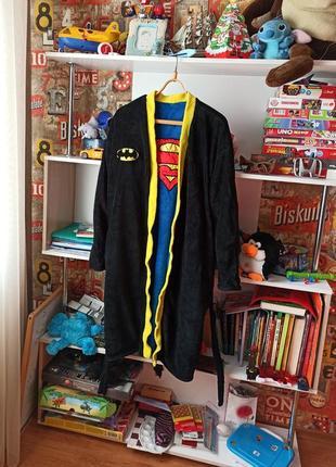 Плюшевый двухсторонний халат george marvel batman superman бэтмен супермен