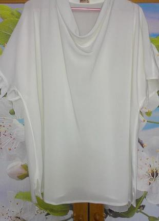 Блуза базовая белая свободного кроя с воротником хомут р.56 шелк