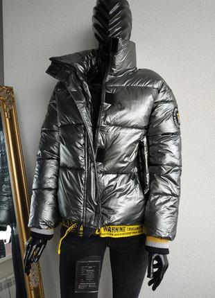 "Трендовая куртка зефирка оверсайз в стиле ""off - white"" серая серебро"