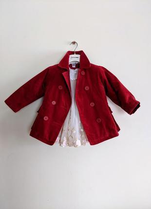 Пальто бардовое красное велюровое бархатное