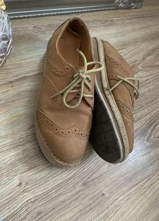 Коричневые броги оксфорды туфли на шнуровке