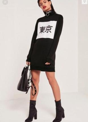 Missguided черное спортивное свободное мини платье свитшот, оверсайз oversize