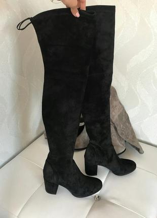 Ботфорды женские черные на каблуке стрейч велюр замша