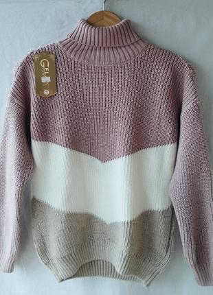 Вязаный свитер под горло, onesize