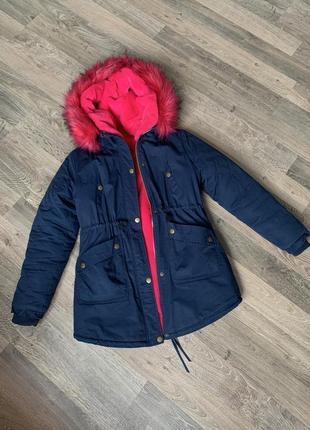 Тёплая куртка парка искусственный мех