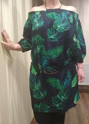Платье-туника американского бренда old navy с тропическим принтом