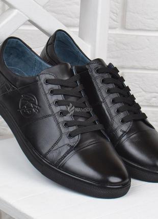 Туфли мужские кожаные kf style черные городской стиль на шнуровке