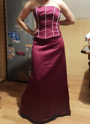 Акция 🌹шикарное вечернее платье бордовое, р xs-xxs