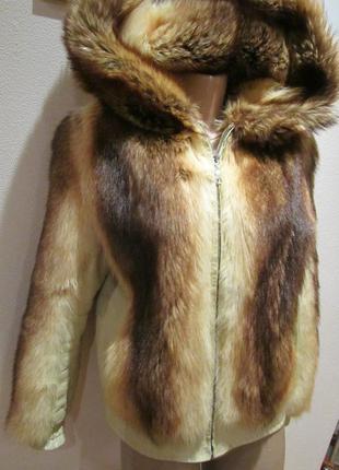 Полушубок, куртка из енота, натур кожа, 38-40