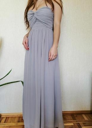 Вечернее серое длинное выпускное платье