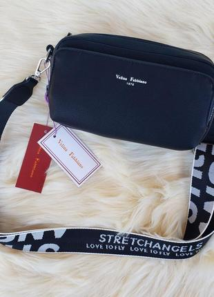Женская стильная сумка через на плечо velina fabbiano жіноча сумка чорна1 фото