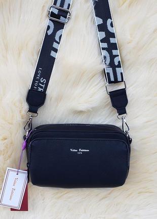 Женская стильная сумка через на плечо velina fabbiano жіноча сумка чорна2 фото