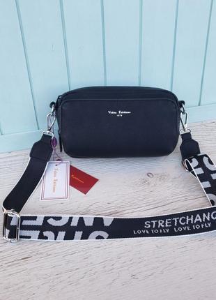 Женская стильная сумка через на плечо velina fabbiano жіноча сумка чорна3 фото