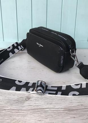 Женская стильная сумка через на плечо velina fabbiano жіноча сумка чорна6 фото