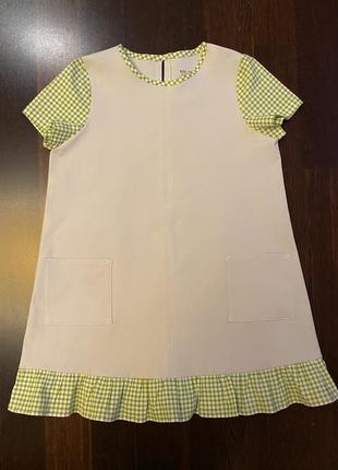 Платье сарафан @don.bacon на девочку 5 лет 110 см с коротким рукавом нежно-серое
