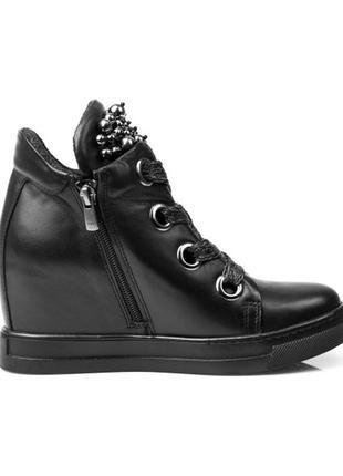 Кожаные ботинки на танкетке alpino