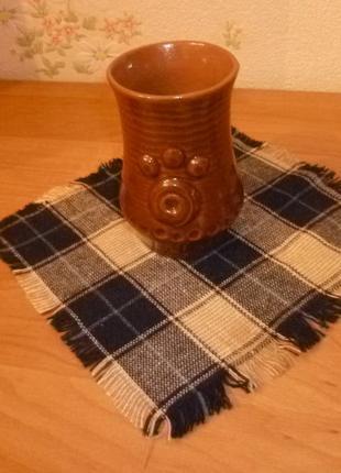 Декоративная салфетка в клеточку  с бахромой