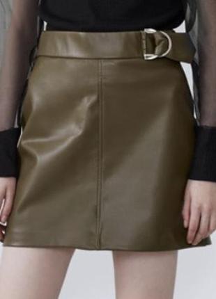 Zara юбка спідниця з еко шкіри из кожи еко кожа
