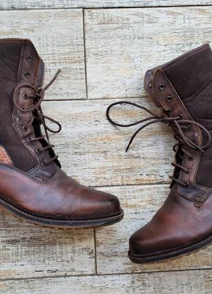 Кожаные высокие мужские ботинки bugatti утепленные сапоги