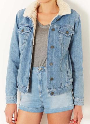 Topshop moto  джинсовая куртка с мехом джинсовка утеплённая topshop винтаж