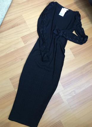 Плаття в рубчик, рукав на шнуровкі