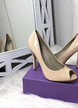 🌸пудровые беж туфли с открытым носком