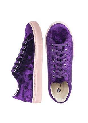 Кеды женские бархатные lapti фиолетовые