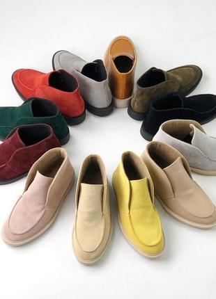 Lux обувь! кожаные натуральные женские демисезонные ботинки лоферы туфли
