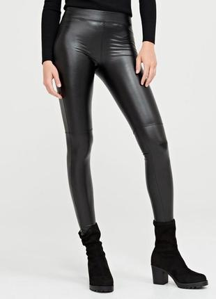 Кожаные брюки скинни, лосины, штаны от cropp
