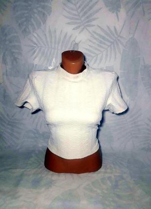 Фактурный кроп топ, укороченная футболка