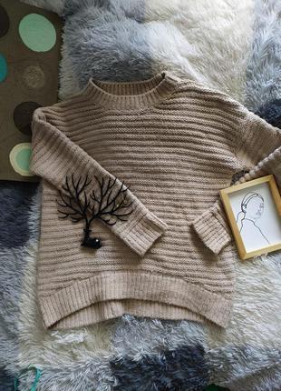 Светр свитер кофта вязанная шерсть базовая беж бежевая