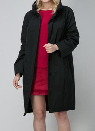 Плащ куртка чёрная курточка ветровка италия пальто тренч парка по колено на пуговицах