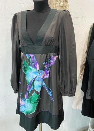Шелковое платье  black label designed by silver greek чёрного цвета! сукня, плаття