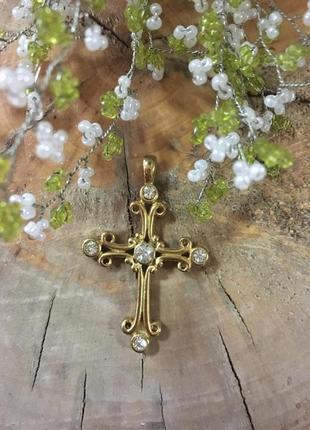 Крест (кулон) латунный  в позолоте с фианитами  крестик крупный винтажный