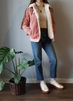 Вельветовая теплая куртка шерпа джинсовка на меху утепленная